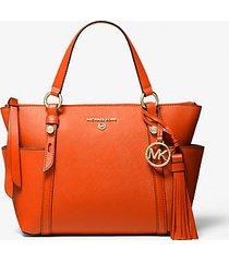 mk borsa tote sullivan piccola in pelle saffiano con zip superiore - mandarancio (arancio) - michael kors