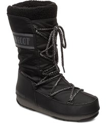 mb monaco wool wp shoes boots ankle boots ankle boots flat heel svart moon boot