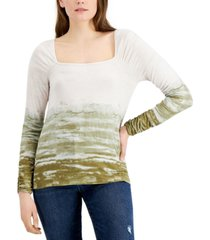 fever tie-dyed square-neck ribbed knit top