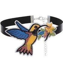 choker negro colibri amarillo con azul cl-12139