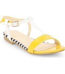 sandali piatti open toe di colore misto