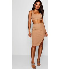 bandage skirt and crop top co-ord set, mocha