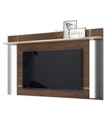 painel suspenso malibu p/ tv até 65 polegadas madero/off white belaflex móveis