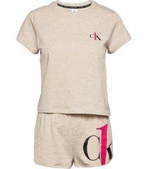 s/s short set pyjamas beige calvin klein