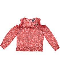 retour korte rode polyester blouse open schouders - meisje
