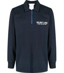 helmut lang logo-print zip-up polo shirt - blue
