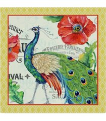 """jean plout 'peacocks in the garden yellow' canvas art - 14"""" x 14"""""""