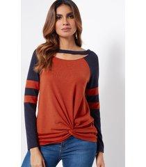orange stripe round cuello recorte diseño camisetas de manga larga con frente torcido