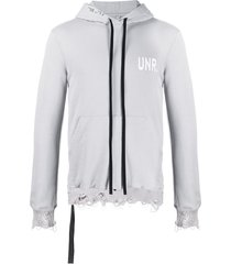 unravel project logo-print distressed-effect hoodie - grey