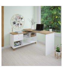 mesa escrivaninha para computador artany gold home office branco e olmo
