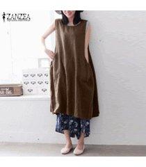 zanzea vestido sin mangas holgado informal sin mangas de verano para mujer vestidos largos sin mangas para mujer -café