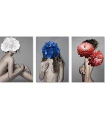 quadro 60x120cm canvas liv mulher com flores branca, azul e vermelha - tricae