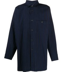 issey miyake men vertical striped oversized shirt - blue