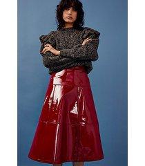idol red pu vinyl midi skirt - red