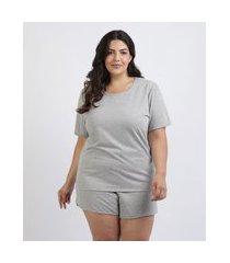 pijama feminino plus size blusa manga curta decote redondo cinza mescla