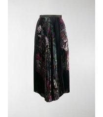 sacai pleated palm tree print skirt