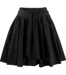 msgm a-line taffeta mini skirt - black