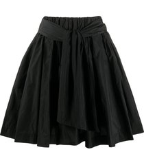 msgm a-line taffeta mini skirt - black