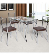 mesa de jantar 4 lugares lion juliana cromado/marrom - art panta