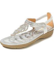 sandalias con cuentas de diamantes de imitación t-leaf para mujer-plata