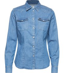 slim western långärmad skjorta blå lee jeans