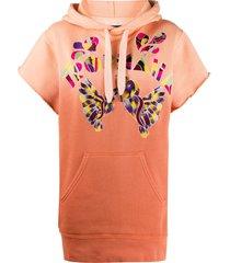 isabel marant embroidered short-sleeved hoodie - orange