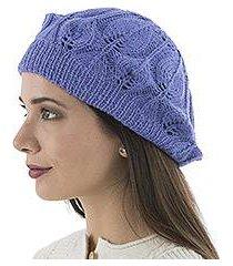 100% alpaca beret, 'blue iris leaves' (peru)