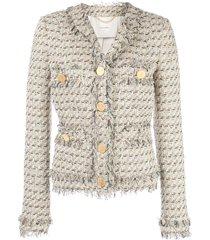 adam lippes single-breasted tweed jacket - white