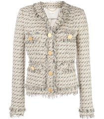 adam lippes single-breasted tweed jacket - white