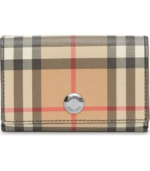 burberry small vintage check e-canvas folding wallet - multicolour
