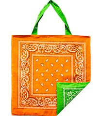 bandana beach bag in green/orange