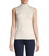 ribbed sleeveless cotton-blend top