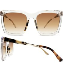 coco and breezy lively 55mm gradient square sunglasses in crystal/tortoise/gradient at nordstrom