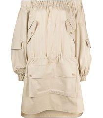 max mara off-shoulder flap-pocket dress