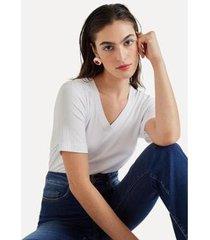 blusa básica decote v eva - feminino