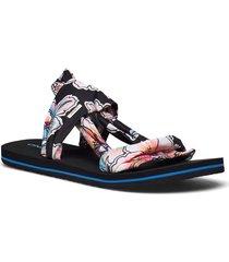 fw ditsy wrap shoes summer shoes flat sandals svart o'neill