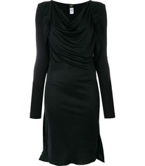 jean paul gaultier pre-owned draped midi dress - black