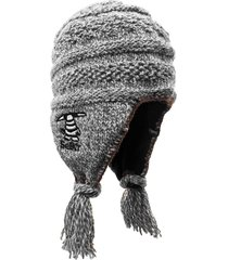 gorro de lana tnu gris matizado blanco selk'n