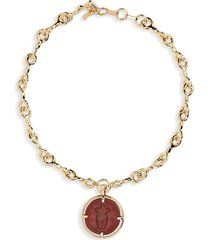 women's chloe elis carnelian medallion necklace