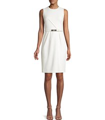 azra belted sheath dress