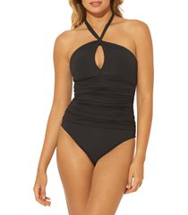 women's bleu by rod beattie twist and shout mio ruched one-piece swimsuit