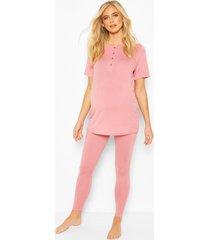 zwangerschap pyjama met knoopjes, rose