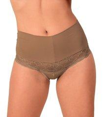 calcinha vip lingerie pala lateral castanho - castanho - feminino - poliã©ster - dafiti