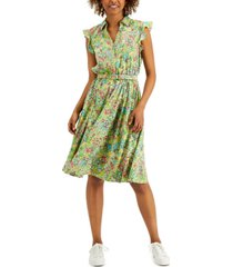 charter club petite flutter sleeve belted dress, created for macy's