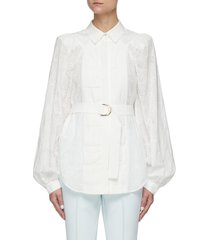 'klara' belted floral perforated sleeve pleated chest cotton shirt