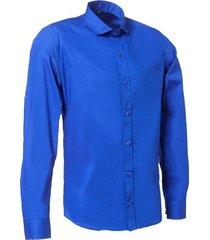 camisa azul argento practico slim fit