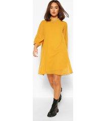 dobby mesh high neck puff sleeve smock dress, mustard