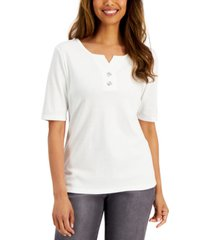 karen scott cotton toggle-button top, created for macy's