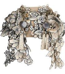 biyan floral embroidered clutch - brown