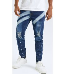 hombre casual color block print ripped bodycon fit jeans